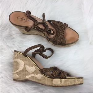 Coach Bronze Brown Strappy Wedge Sandals 9.5